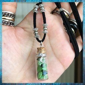 Green lemon jade chips glass bottle fairy necklace
